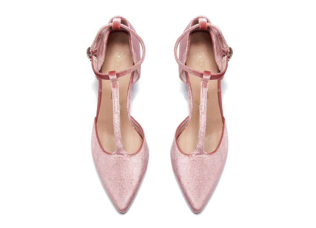 Ladies' Velvet T-Strap Heel Pumps 5360 Pink - House of Avenues - Designer Shoes Online 香港女鞋網店