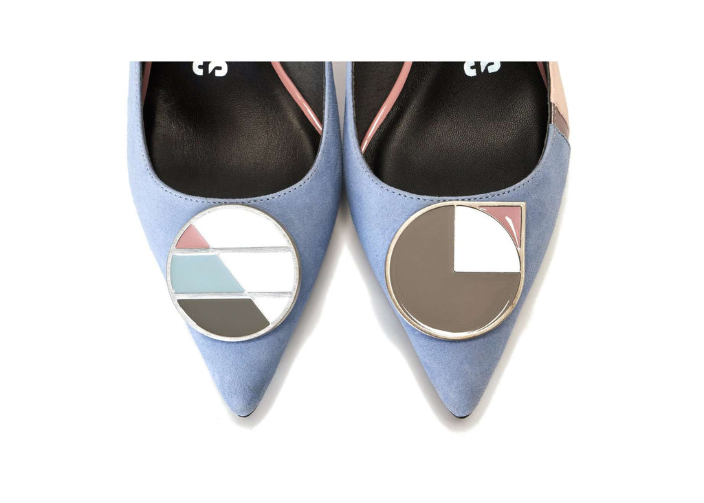Color Factory Ladies' Color Blocking Cuban Heel Pumps 5366 Light Blue - House of Avenues - Designer Shoes | 香港 | 女鞋 House of Avenues