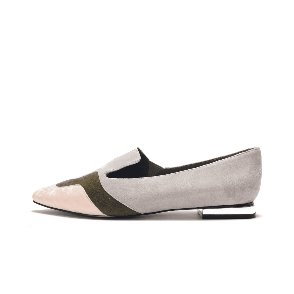 Color Factory Ladies' Color Block Loafer 5367 Light Grey - House of Avenues - Designer Shoes | 香港 | 女鞋 House of Avenues