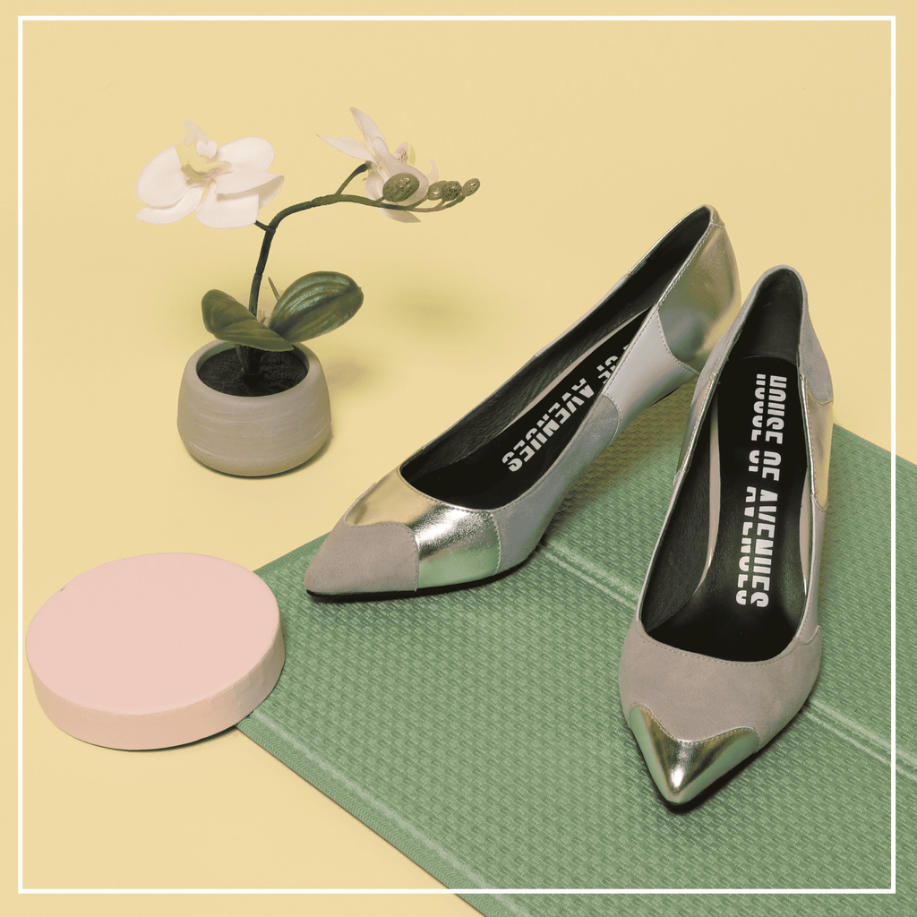 Color Factory Ladies' Color Block Flare Heel Pumps 5368 Silver - House of Avenues - Designer Shoes | 香港 | 女鞋 House of Avenues
