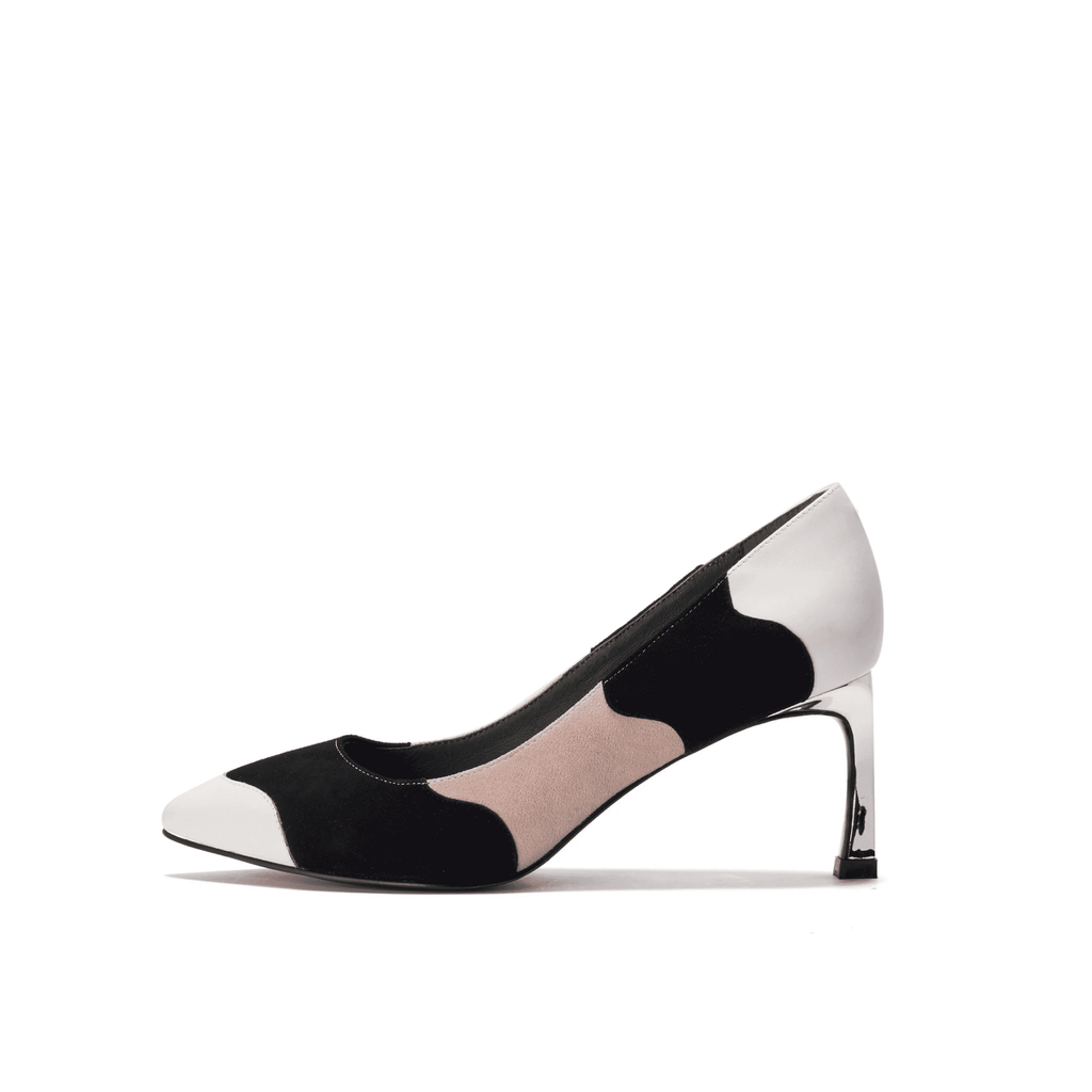 Color Factory Ladies' Color Block Flare Heel Pumps 5368 Black - House of Avenues - Designer Shoes | 香港 | 女鞋 House of Avenues