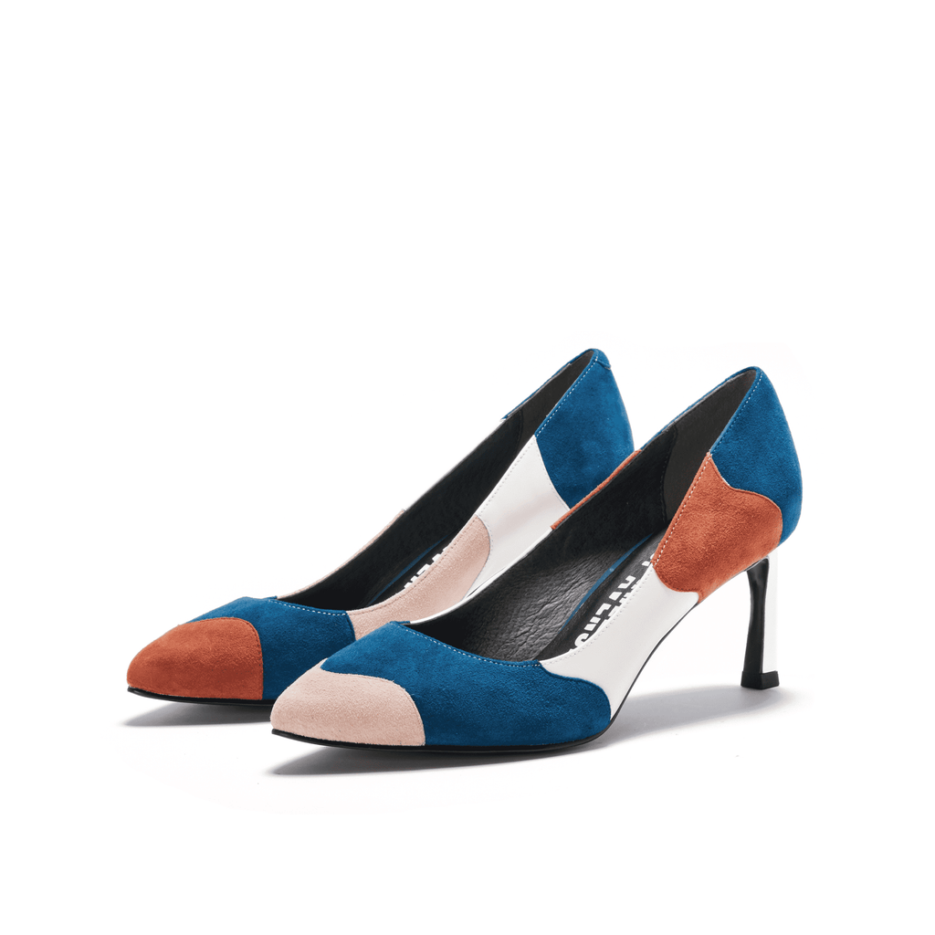 Color Factory Ladies' Color Block Flare Heel Pumps 5368 Blue - House of Avenues - Designer Shoes | 香港 | 女鞋 House of Avenues