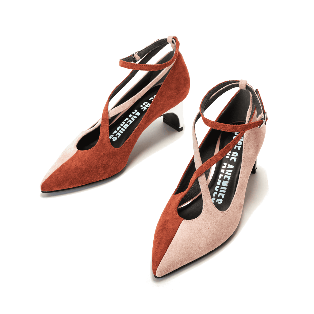 Color Factory Ladies' Cross Strap Flared Heel Pump 5371 Brown - House of Avenues - Designer Shoes | 香港 | 女鞋 House of Avenues