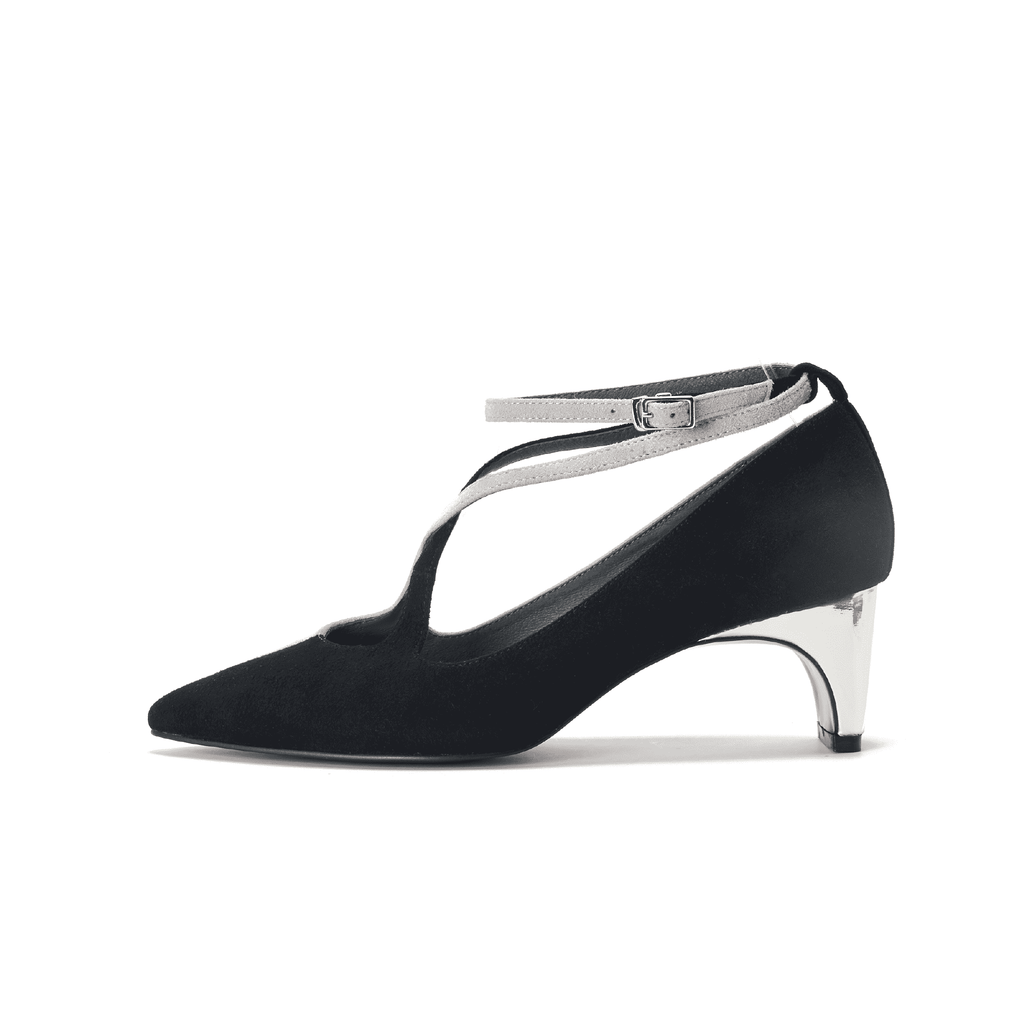 Color Factory Ladies' Cross Strap Flared Heel Pump 5371 Black - House of Avenues - Designer Shoes | 香港 | 女鞋 House of Avenues