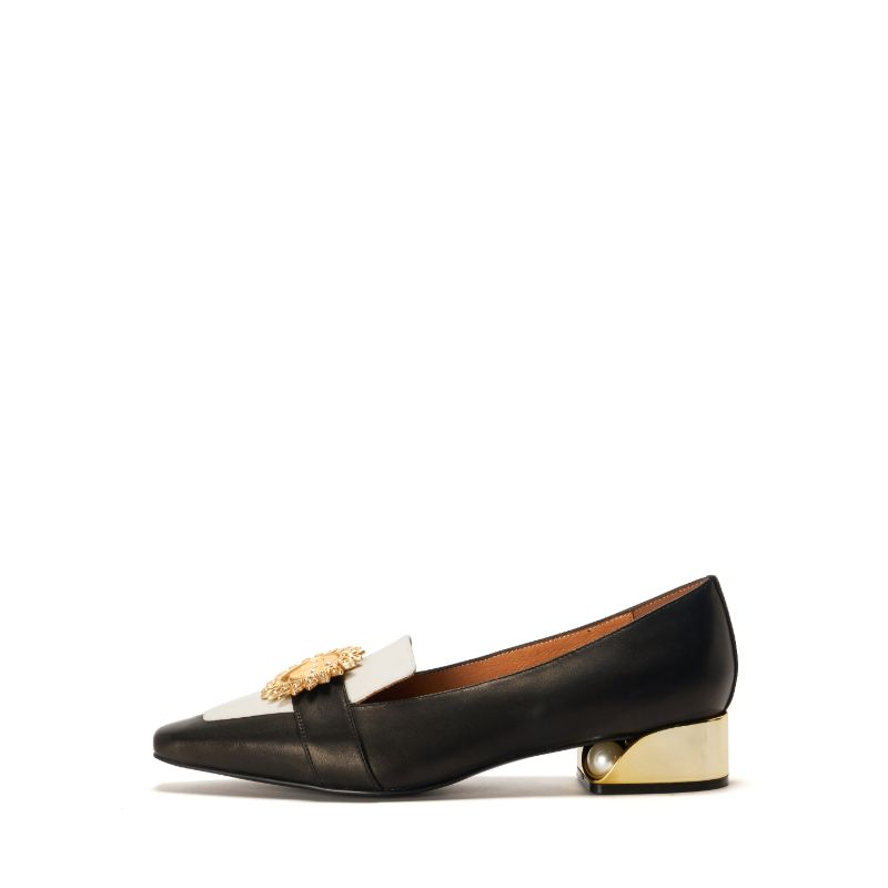 Ladies Retro Style Color Block Loafer 5372 Black - House of Avenues - Designer Shoes Online 香港女鞋網店