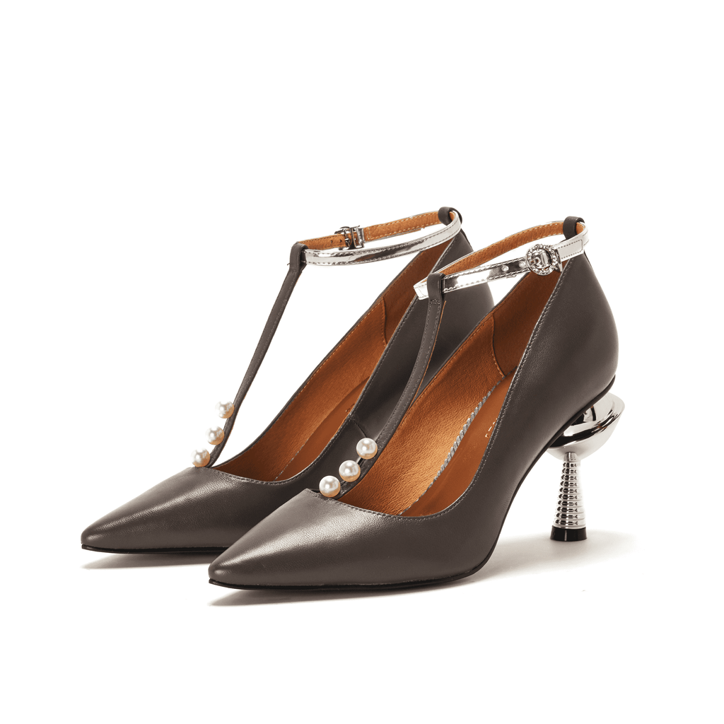 Live Within I Ladies' T-Strap Heel Pump 5376 Grey - House of Avenues - Designer Shoes Online
