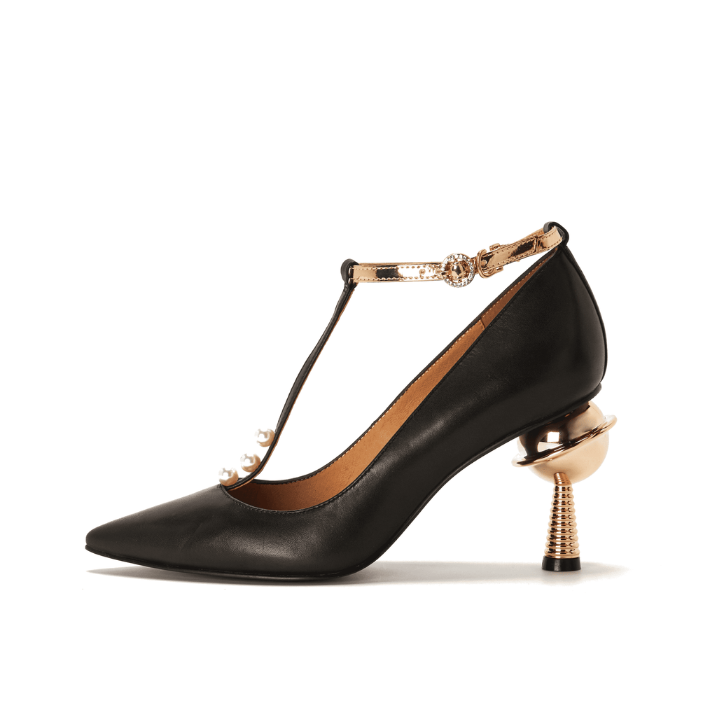 Live Within I Ladies' T-Strap Heel Pump 5376 Black - House of Avenues - Designer Shoes Online