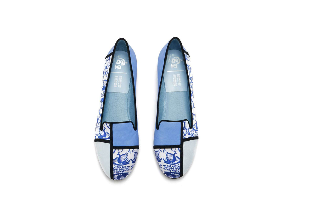 Palace x House Of Avenues Ladies Floral Print Loafer Pumps 5381 Light Blue - House of Avenues - Designer Shoes Online