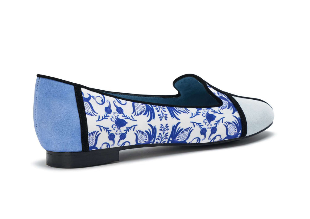 Ladies Oriental Style Floral Print Loafer Pumps 5381 Light Blue - House of Avenues - Designer Shoes | 香港 | 女鞋 House of Avenues