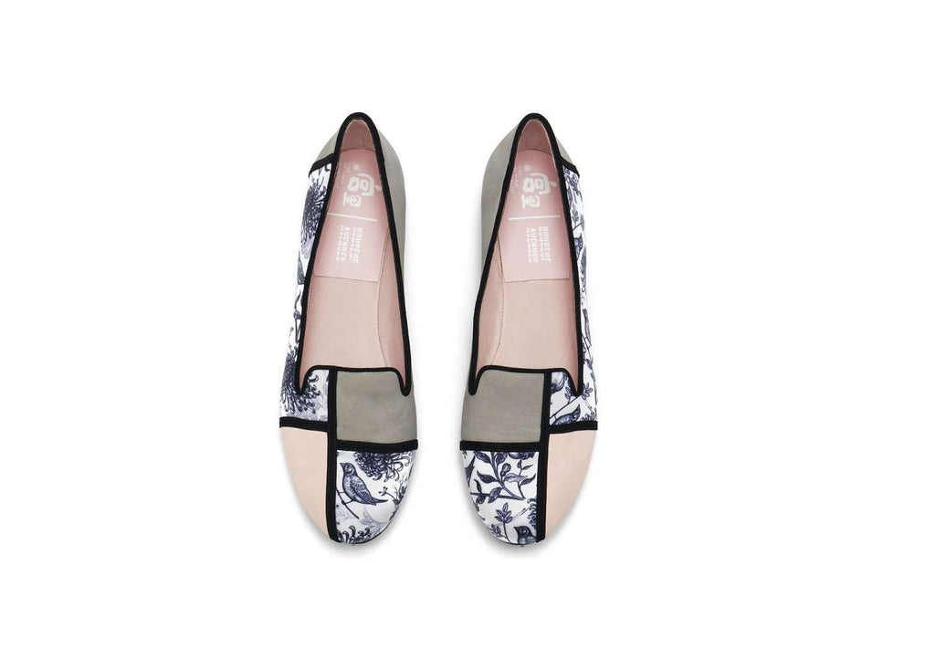 Ladies Oriental Style Floral Print Loafer Pumps 5381 Green - House of Avenues - Designer Shoes | 香港 | 女鞋 House of Avenues