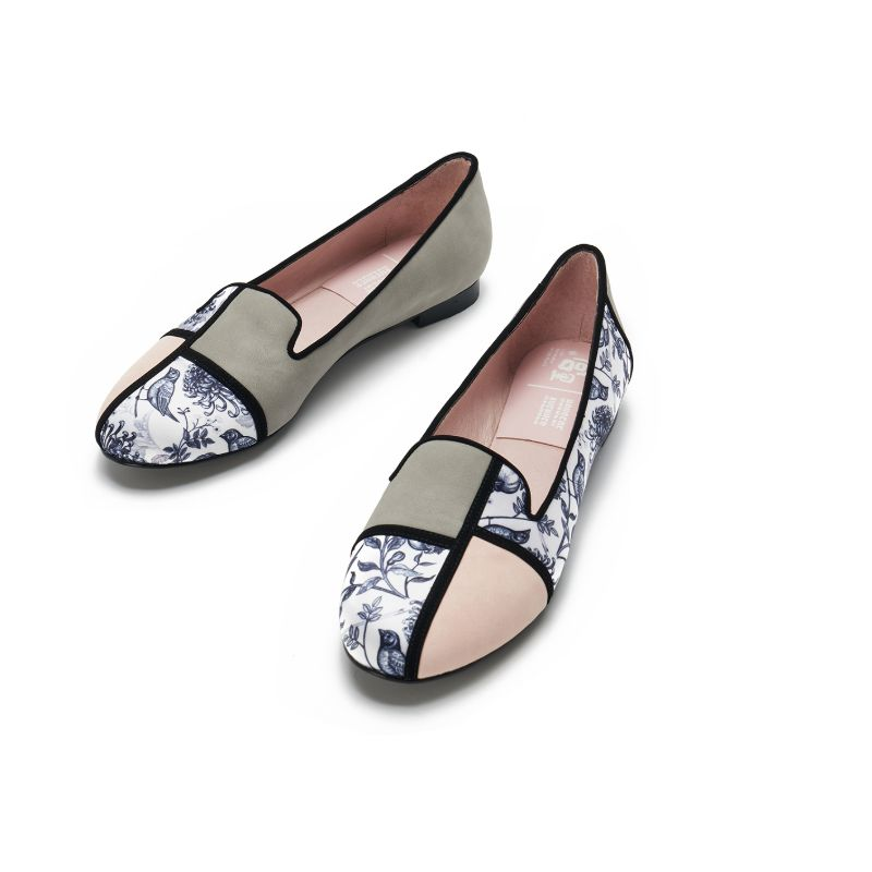 Palace x House Of Avenues Ladies Floral Print Loafer Pumps 5381 Grey - House of Avenues - Designer Shoes Online