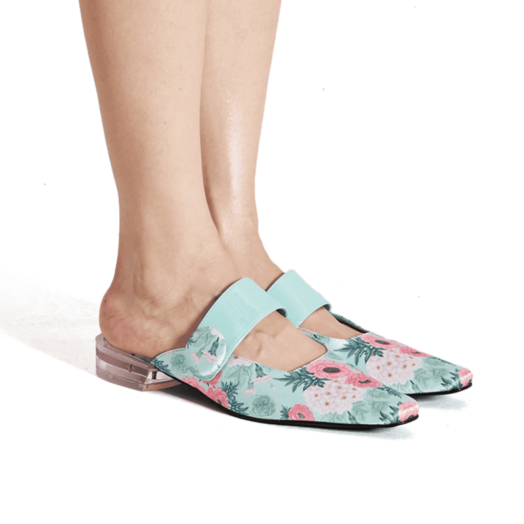 Ladies Floral Print Mule Sandal 5382 Green - House of Avenues - Designer Shoes | 香港 | 女鞋 House of Avenues