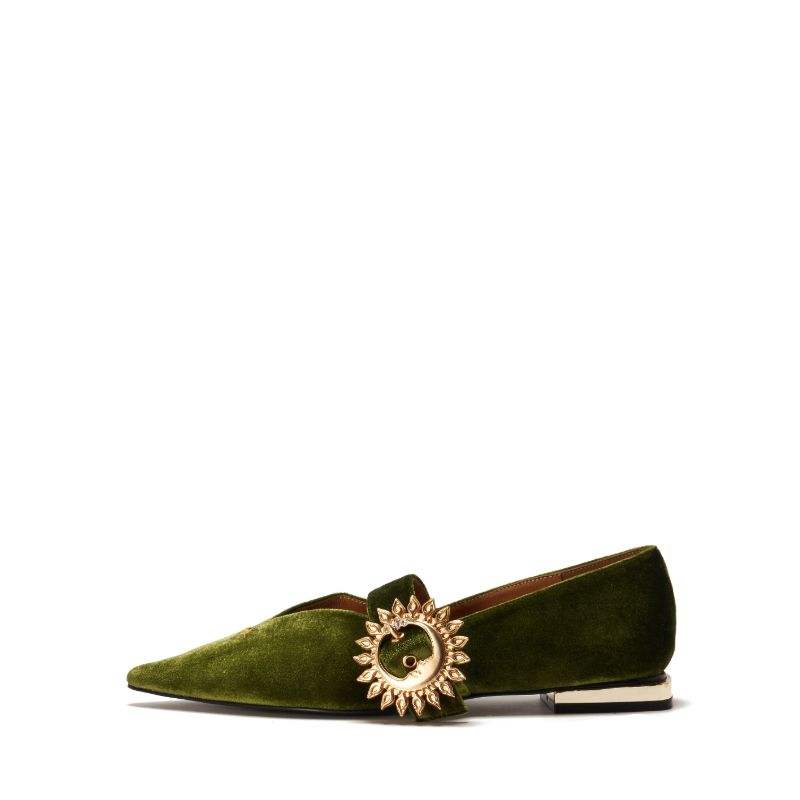 Ladies Mary Jane Velvet Flat Pumps 5421 Green - House of Avenues - Designer Shoes | 香港 | 女鞋 House of Avenues