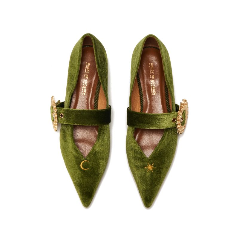 Live Within II Ladies' Mary Jane Flat Pumps 5421 Green - House of Avenues - Designer Shoes Online