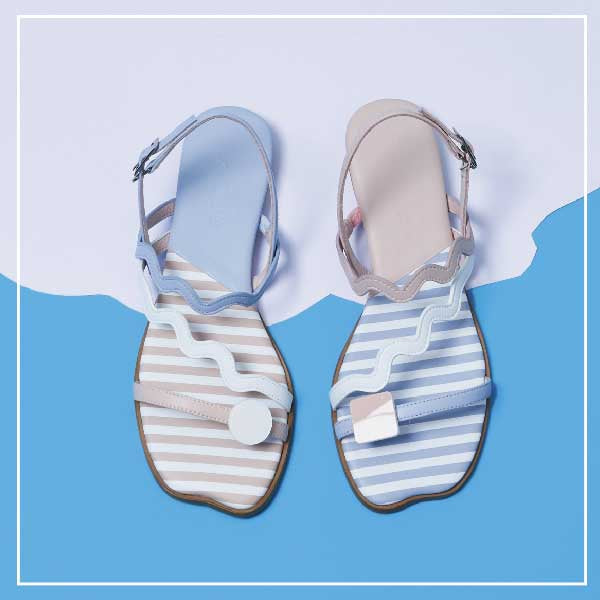 """Everyone needs a fantasy"" flat stripe sandal 5446 - House of Avenues - Designer Shoes Online"