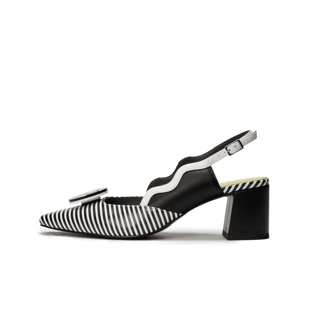 Everyone needs a fantasy Ladies' Stripe Pattern Slingback Heel Pumps 5449 - House of Avenues - Designer Shoes Online