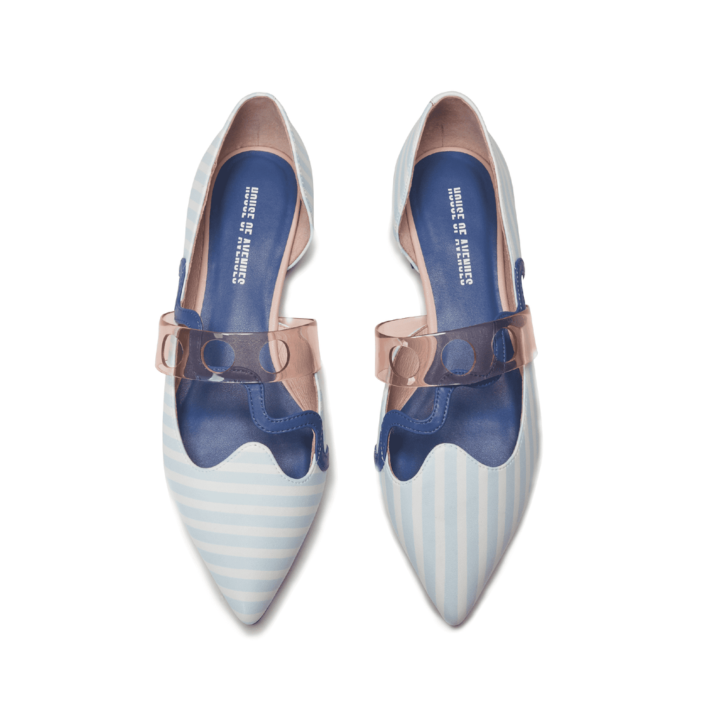 Everyone needs a fantasy Ladies' Stripe Pattern Flat Pumps 5451 - House of Avenues - Designer Shoes Online