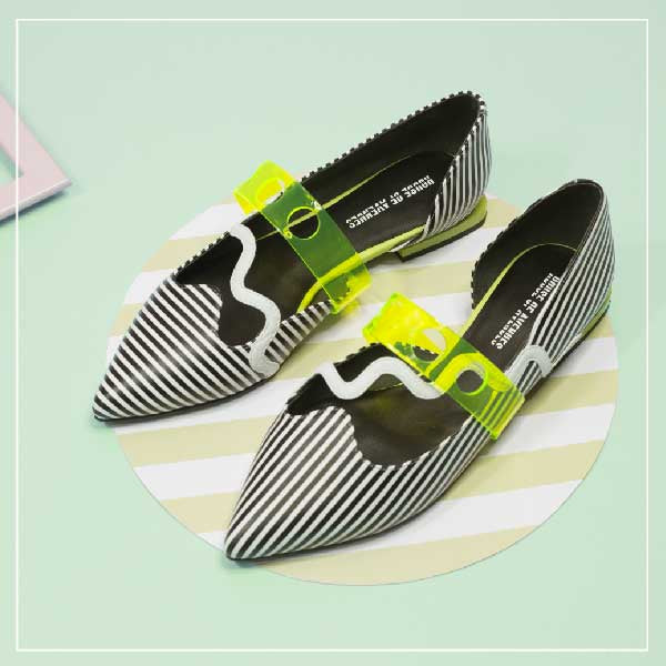 Ladies' Stripe Pattern Flat Pumps 5451 - House of Avenues - Designer Shoes | 香港 | 女鞋 House of Avenues