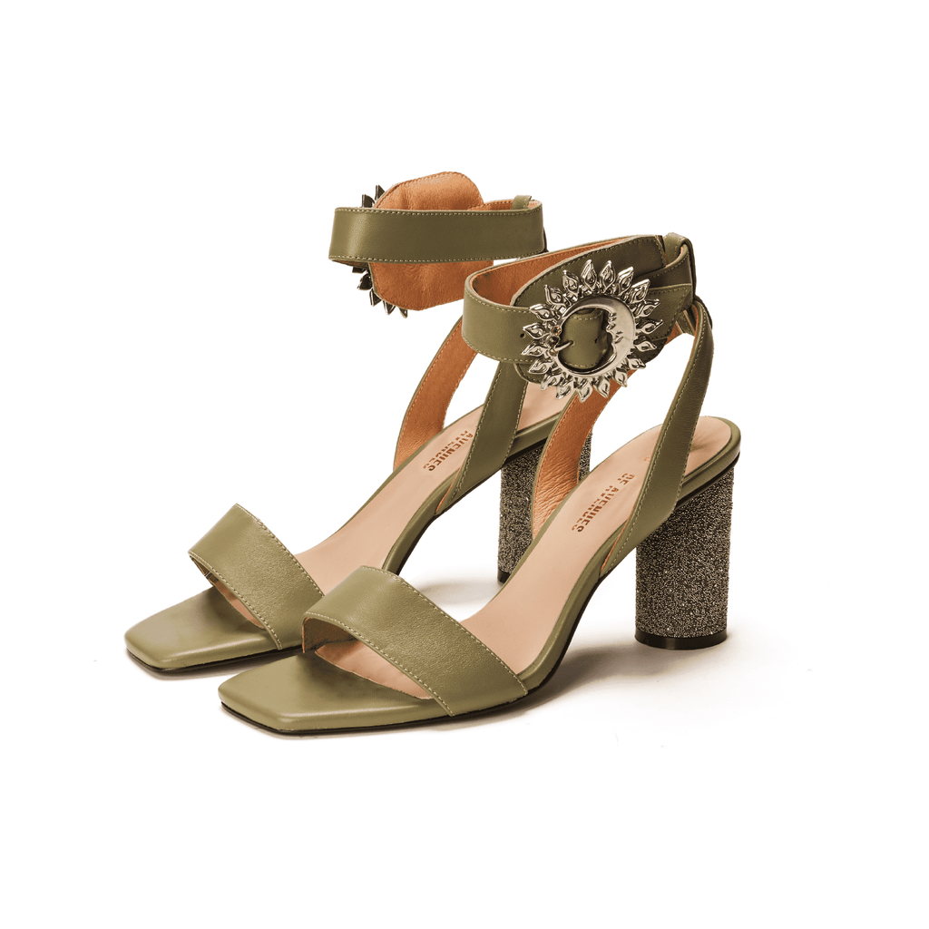Live Within II Ladies' Olive Retro Heel Sandal 5452 - House of Avenues - Designer Shoes Online