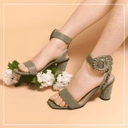 """Live Within II"" - Retro Heel Sandal 5452 Olive - House of Avenues - Designer Shoes Online"