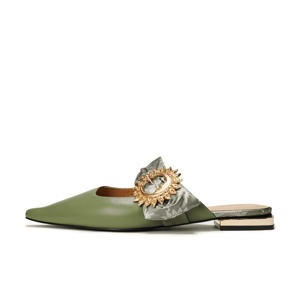 Live Within II Ladies' Retro Pointed Toe Flat Mule Sandal 5455 Green - House of Avenues - Designer Shoes Online