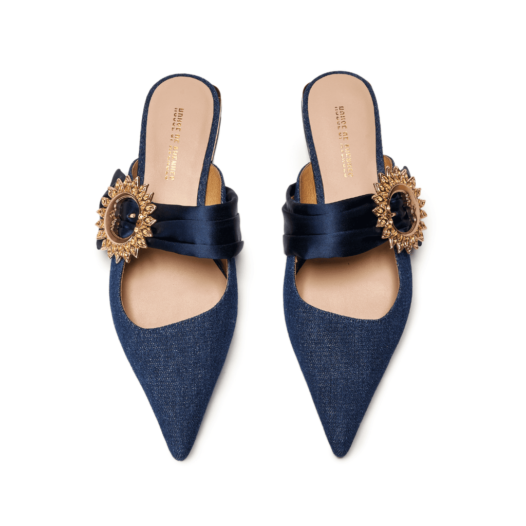 Live Within II Ladies' Retro Pointed Toe Flat Mule Sandal 5455 Blue - House of Avenues - Designer Shoes Online