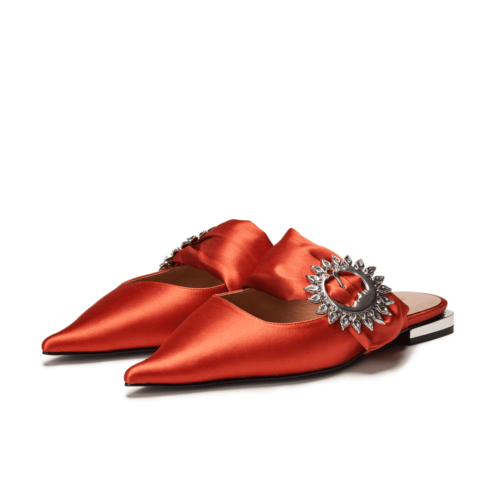 Live Within II Ladies' Retro Pointed Toe Flat Mule Sandal 5455 Orange - House of Avenues - Designer Shoes Online