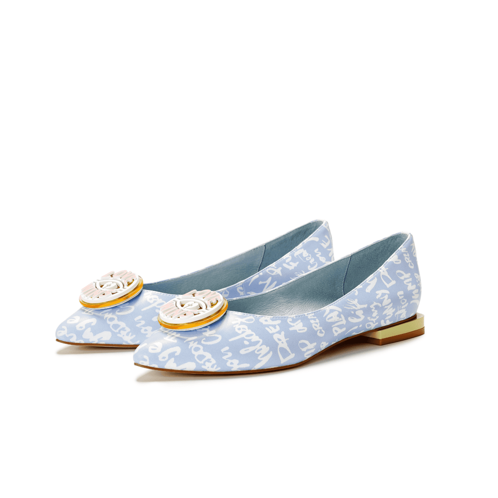 Ladies' Allover Print Flat Pumps 5505 Light Blue - House of Avenues - Designer Shoes | 香港 | 女鞋 House of Avenues