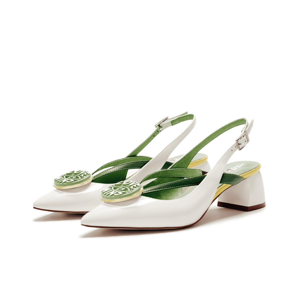 Ladies V Strap Slingback Pumps 5506 White - House of Avenues - Designer Shoes | 香港 | 女鞋 House of Avenues