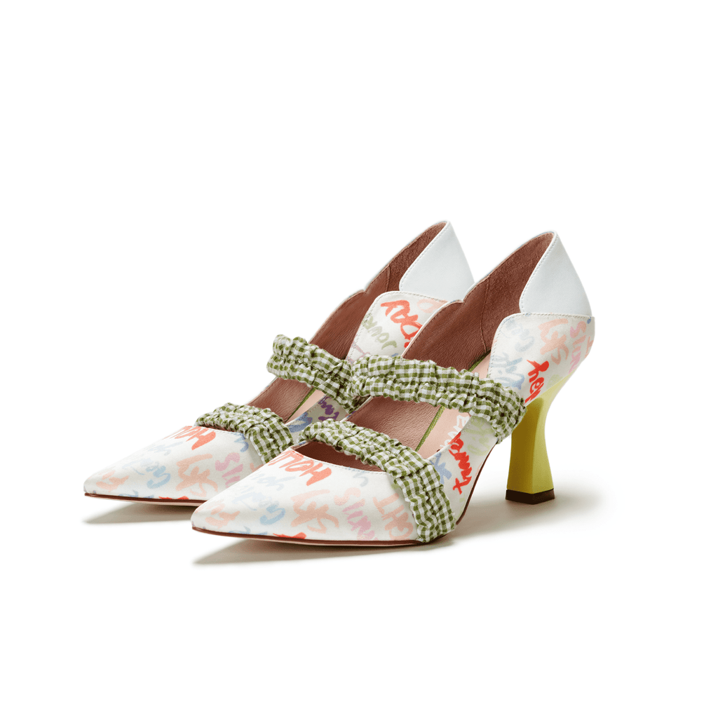 Ladies Allover Print Mary Jane Heel Pumps 5508 White - House of Avenues - Designer Shoes Online 香港女鞋網店