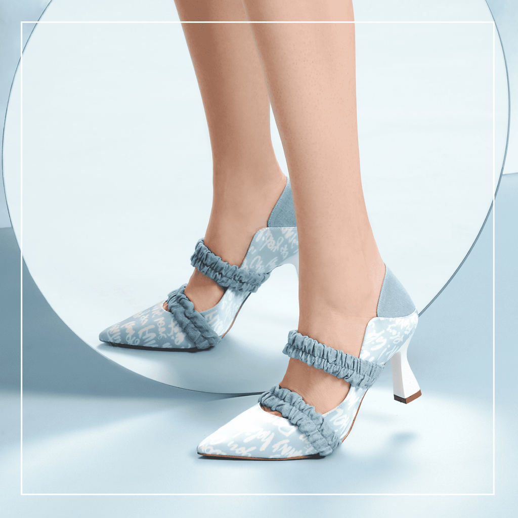 Ladies Allover Print Mary Jane Heel Pumps 5508 Light Blue - House of Avenues - Designer Shoes Online 香港女鞋網店