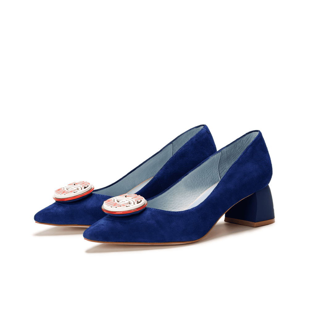 Ladies Suede Block Heel Pumps 5509 Navy - House of Avenues - Designer Shoes | 香港 | 女鞋 House of Avenues