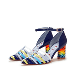 """Love is Universal""  Rainbow Color Heel SANDAL 5511 (Blue) - House of Avenues - Designer Shoes Online"