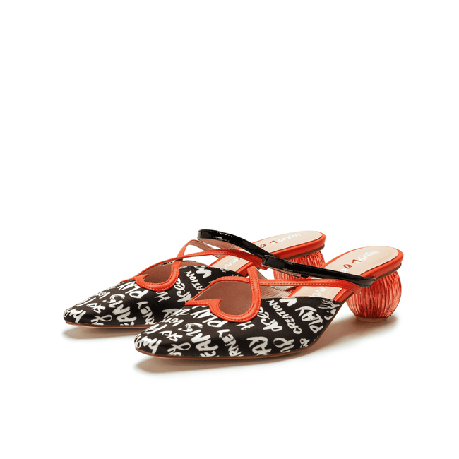 """Love is Universal"" Grafitti Pattern Printed Mule 5514 - House of Avenues - Designer Shoes Online"