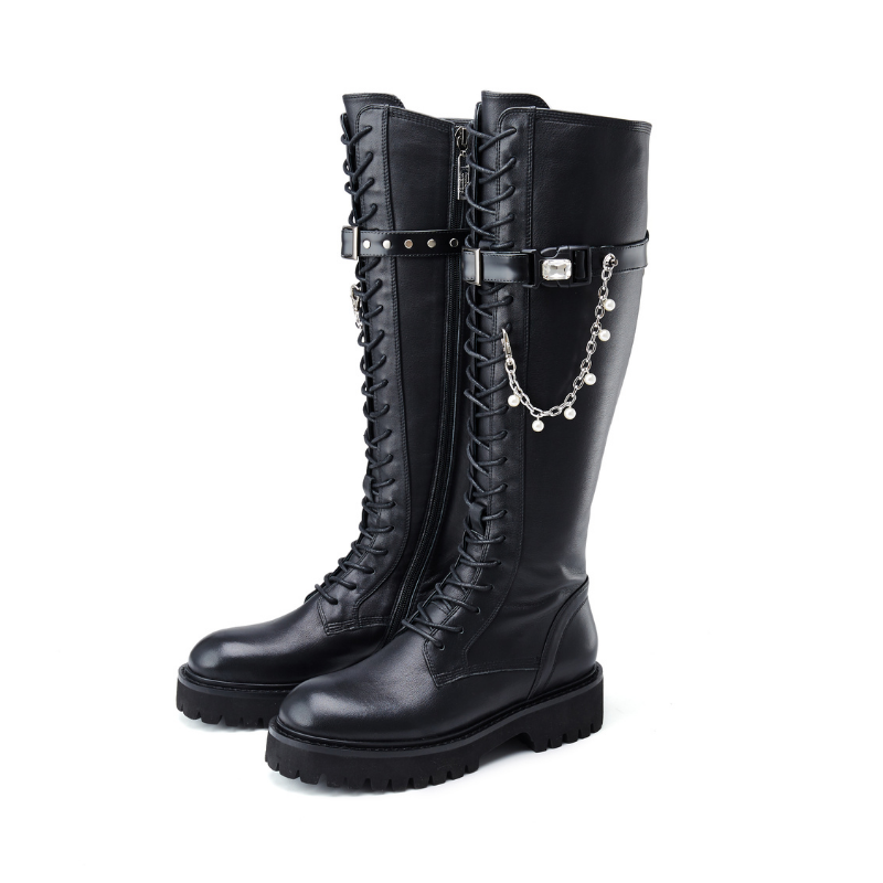 Ladies Pearl Chain Combat Boot 5564 - House of Avenues - Designer Shoes | 香港 | 女鞋 House of Avenues