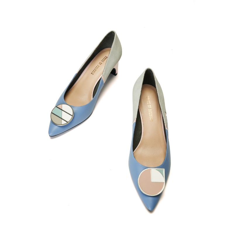 Ladies Blocking Flared Pumps 5522 Blue - House of Avenues - Designer Shoes | 香港 | 女鞋 House of Avenues