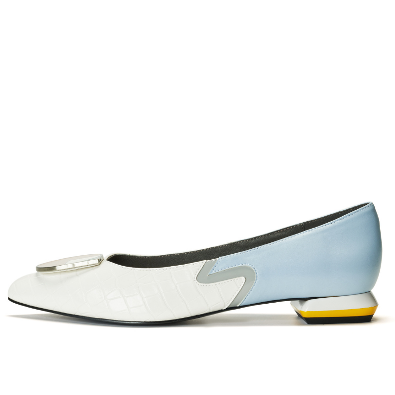 Ladies Color Blocking Flat Pumps 5523 White - House of Avenues - Designer Shoes Online 香港女鞋網店