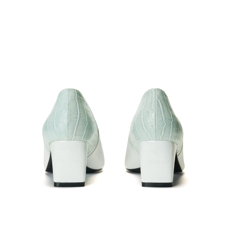Keep Art Alive Color Ladies Blocking Flared Pumps 5522 White - House of Avenues - Designer Shoes Online