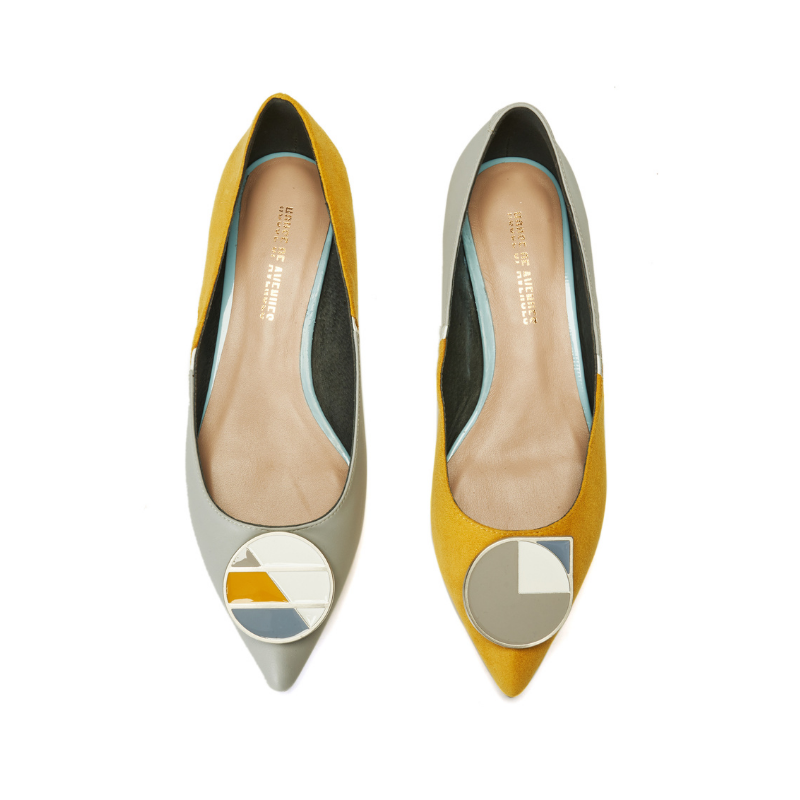 Keep Art Alive Color Blocking Flat Pumps 5523 Yellow - House of Avenues - Designer Shoes Online