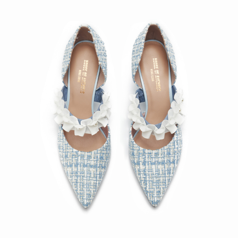 Ladies Romantic Tweed d'Orsay Pumps 5345 Light Blue - House of Avenues - Designer Shoes Online 香港女鞋網店