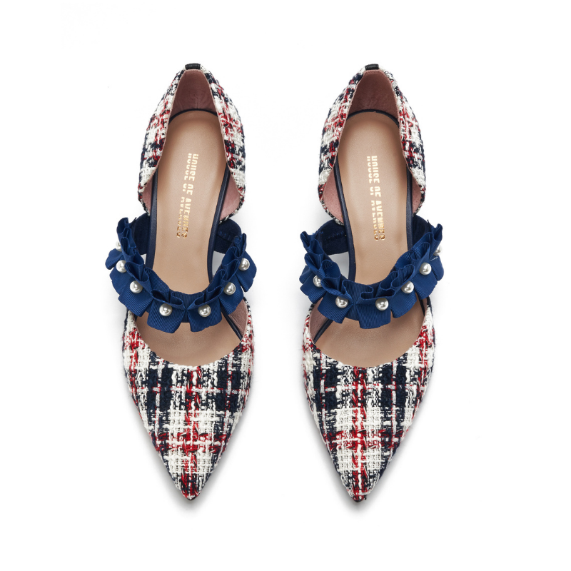 Ladies Romantic Tweed d'Orsay Pumps 5345 Navy - House of Avenues - Designer Shoes | 香港 | 女鞋 House of Avenues