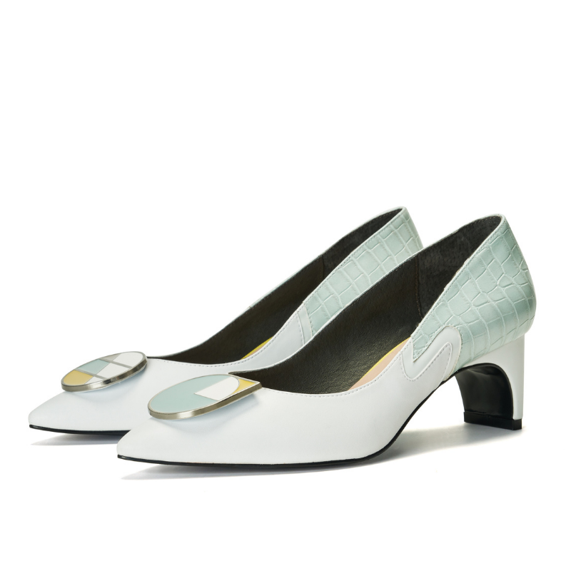 Ladies Blocking Flared Pumps 5522 White - House of Avenues - Designer Shoes | 香港 | 女鞋 House of Avenues
