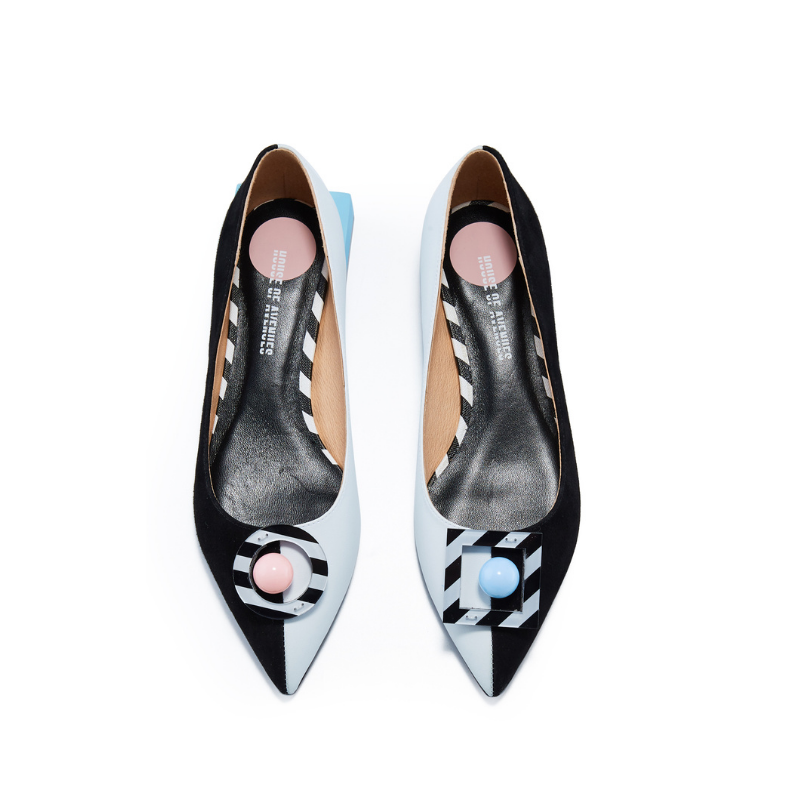 Ladies' Memphis Pattern Flat Pumps 5603 Black - House of Avenues - Designer Shoes | 香港 | 女鞋 House of Avenues