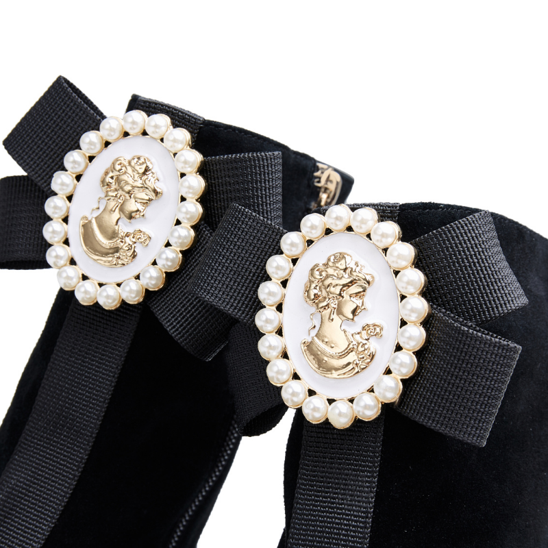 Ladies Ribbon Brooch Square Toe Bootie 5556 Black - House of Avenues - Designer Shoes | 香港 | 女鞋 House of Avenues