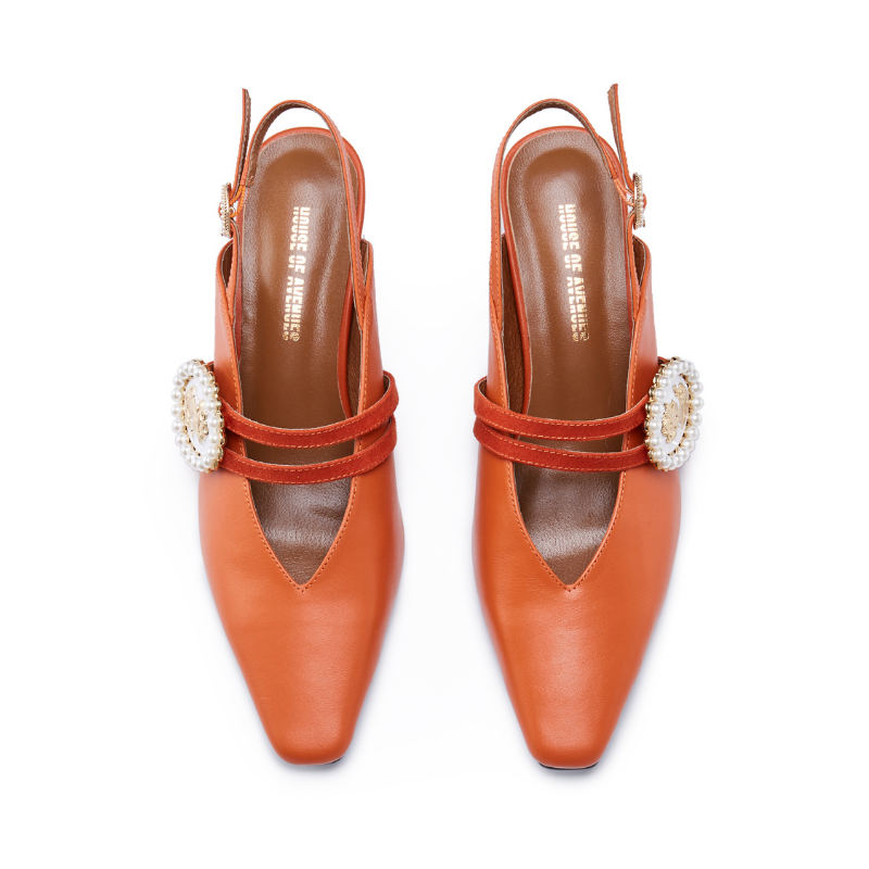 Ladies Slingback Heel Pumps 5554 Orange - House of Avenues - Designer Shoes | 香港 | 女鞋 House of Avenues