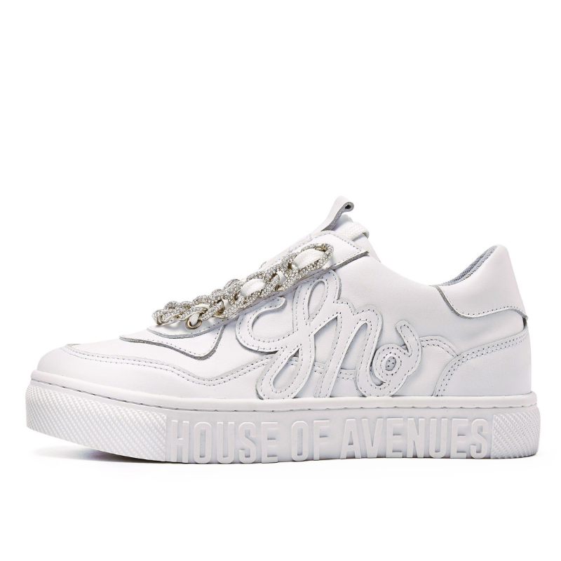 Ladies Rhinestone Chain Sneaker 5550 White - House of Avenues - Designer Shoes | 香港 | 女鞋 House of Avenues