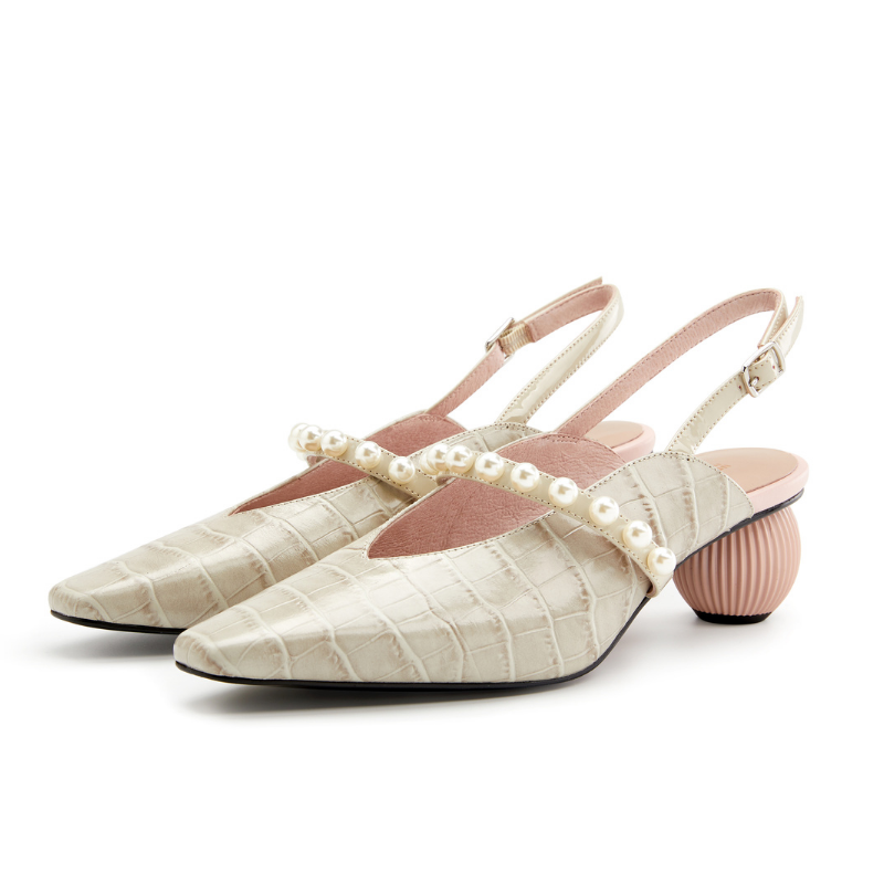 Ladies Croco Print Pearl Strap Slingback Pumps 5346 Beige - House of Avenues - Designer Shoes Online 香港女鞋網店