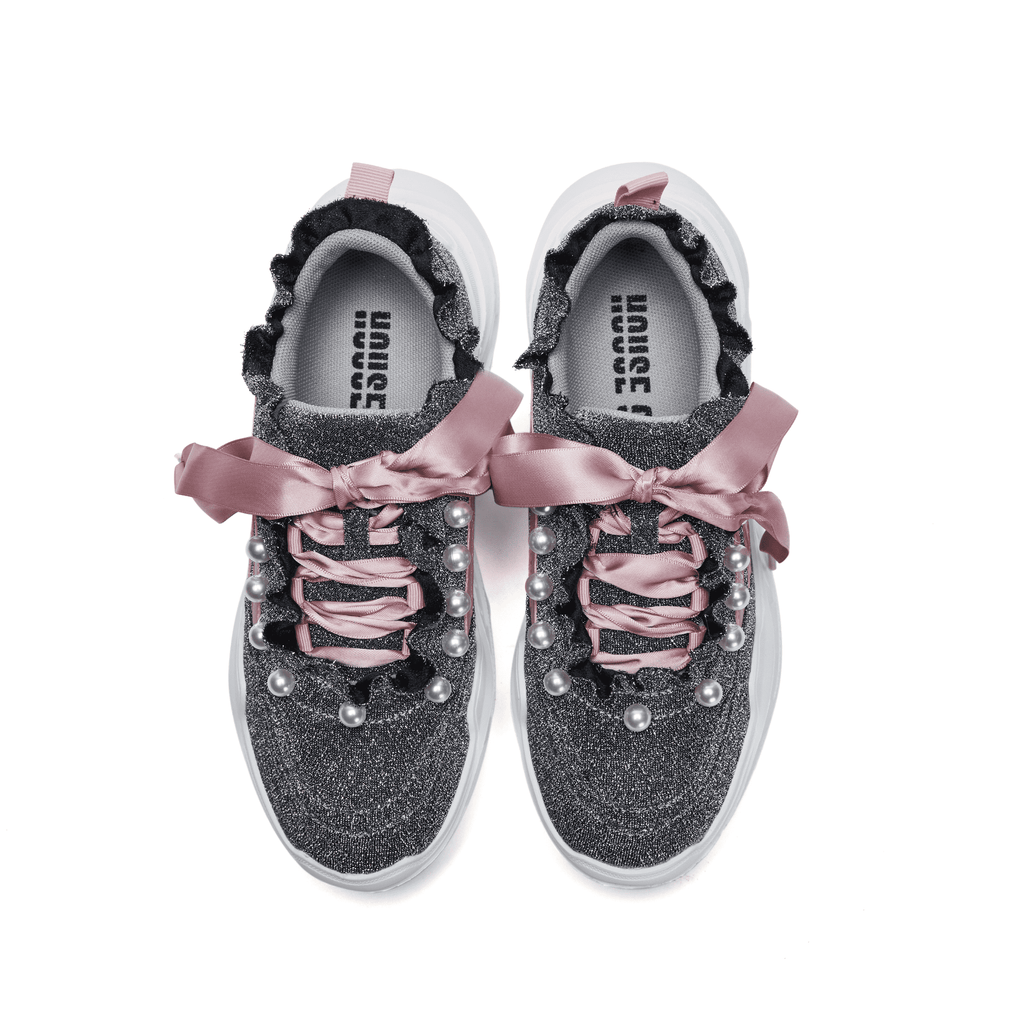 """TEAM PLAYER"" BLING BLING & PEARL SNEAKER 5218 - House of Avenues - Designer Shoes Online"