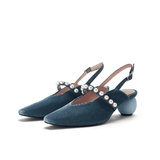 """MY FAIR LADY"" romantic pearl strap slingback 5346 - 6 Colorways"