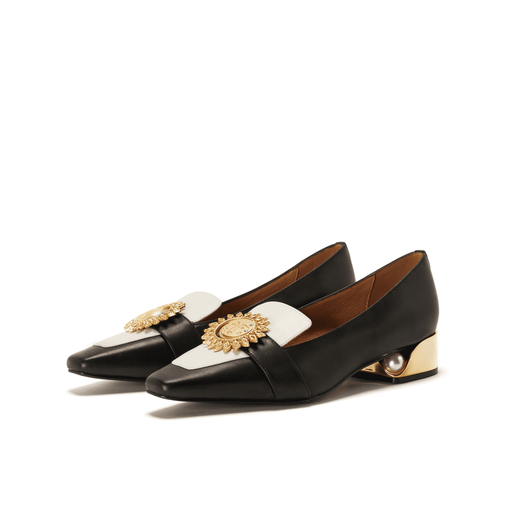 Live Within I Ladies' Retro Style Color Block Loafer 5372 Black - House of Avenues - Designer Shoes Online